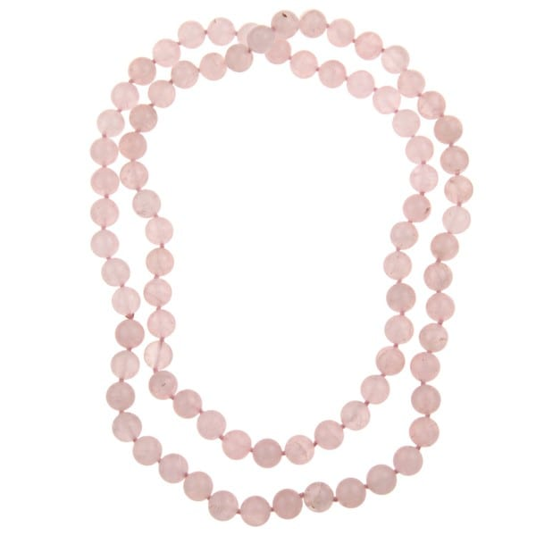Pearlz Ocean Rose Quartz Knotted Endless Necklace