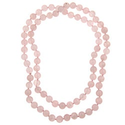 Pearlz Ocean Rose Quartz Knotted Endless Necklace