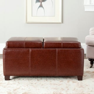 Safavieh Harrison Storage Brown Leather Double Tray Ottoman