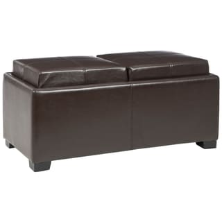 Safavieh Harrison Brown Leather Double Tray Ottoman