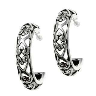 Sunstone Sterling Silver Oxidized Filigree Semi-hoop Earrings