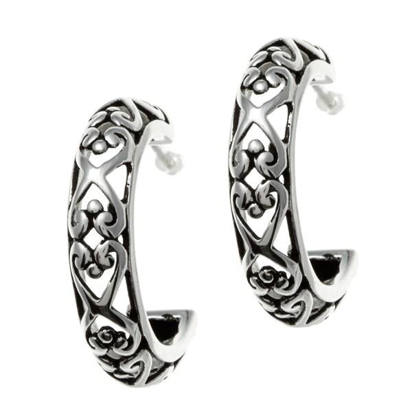 Sunstone Sterling Silver Oxidized Filigree Semi-hoop Earrings