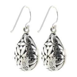 Sunstone Sterling Silver Oxidized Bali Pear-shaped Drop Earrings