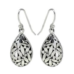 Sunstone Sterling Silver Oxidized Bali Pear-shaped Drop Earrings
