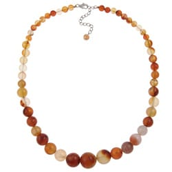 Pearlz Ocean Sterling Silver Carnelian Bead Journey Necklace