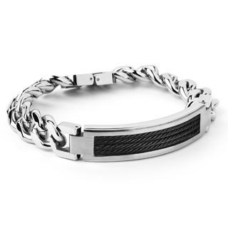Crucible Stainless Steel Black Cable ID Bracelet