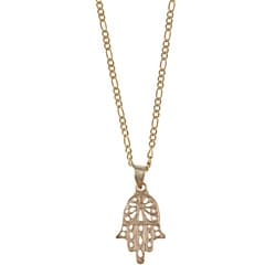 14k Yellow Gold Hamsa Figaro-chain Necklace
