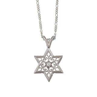14k White Gold Diamond Accent Star Of David Necklace (H-I, SI2)