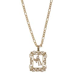 14k Yellow Gold Framed Chai Necklace