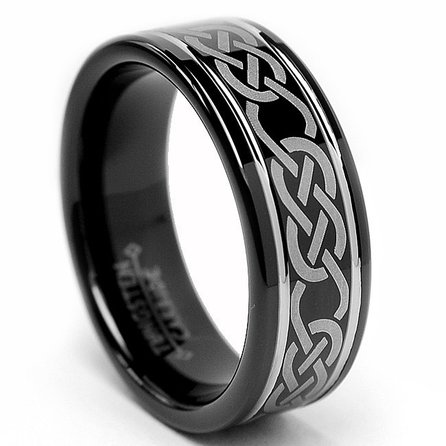 Men's Tungsten Carbide Black Celtic Ring (8 mm)