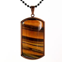West Coast Jewelry Coppertone Stainless Steel Tiger's Eye Domed Dog Tag Necklace