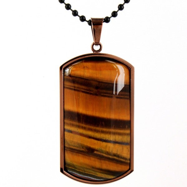 Coppertone Stainless Steel Tiger's Eye Domed Dog Tag Necklace