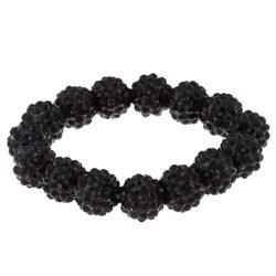 Black Acrylic Crystal Stretch Bracelet