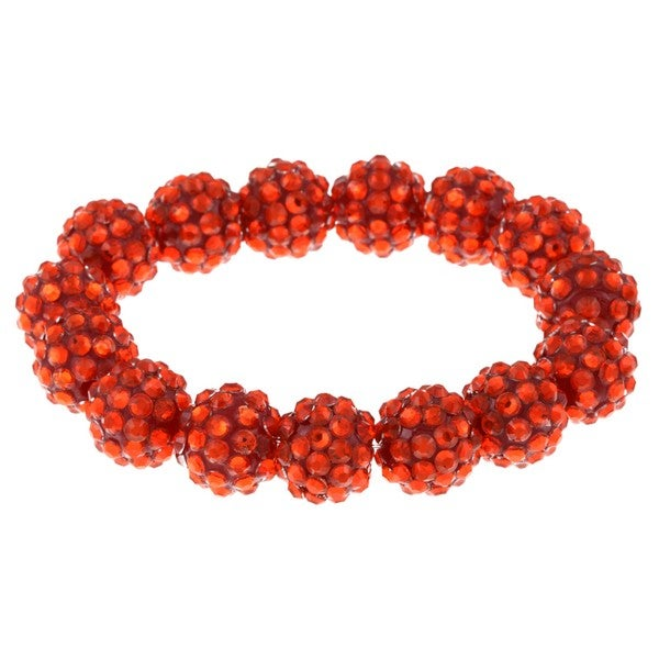 Red Acrylic Crystal Stretch Bracelet