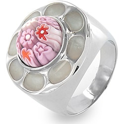 West Coast Jewelry Stainless Steel Pink Glass Flower Cocktail Ring