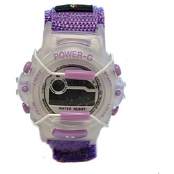 Power G Perfect Time Purple Alarm Chronograph Hook and Loop Strap Watch