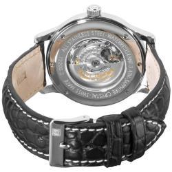Revue Thommen Men's 'Skeleton' Black Open Face Automatic Watch