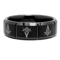 Men's Tungsten Carbide Freemason Masonic Ring (8 mm)