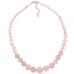 Pearlz Ocean Sterling Silver Rose Quartz Journey Necklace