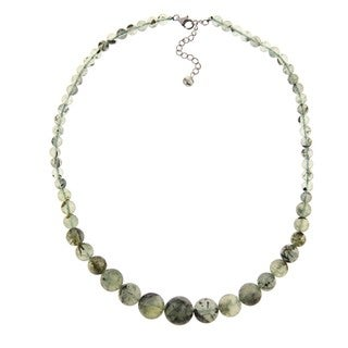 Pearlz Ocean Sterling Silver Prehnite Bead Journey Necklace