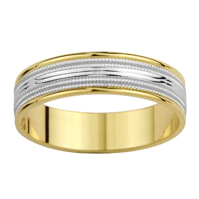 14k Two-tone Gold Men's Contoured Milligrain Wedding Band