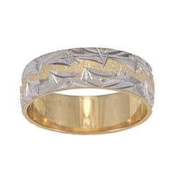 14k Two-tone Gold Mountain Edge Design Easy-fit Wedding Band