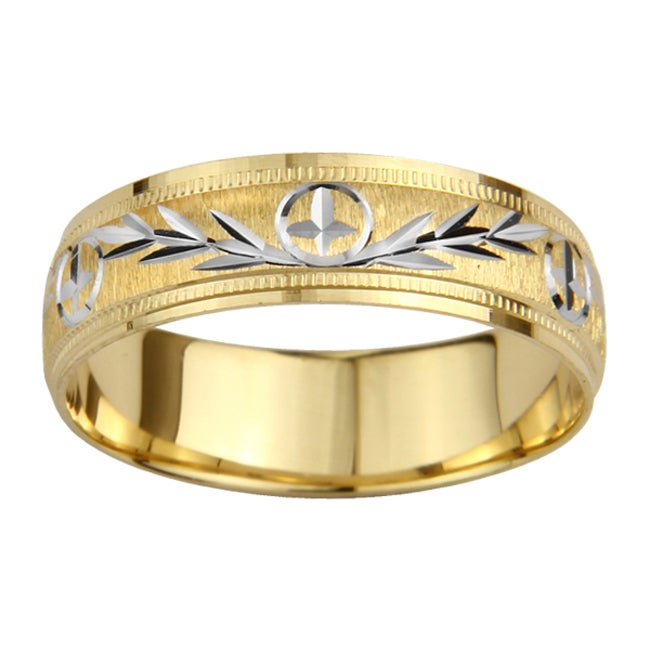 14k Gold Men's Milligrain Cross and Leaf Design Wedding Band
