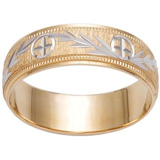 14k Gold Women's Milligrain Cross and Leaf Design Wedding Band