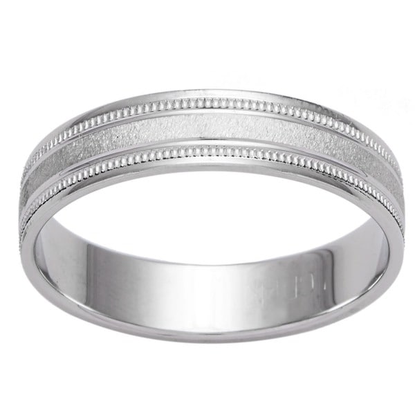 14k White Gold Men's Satin Finish Grooved Easy Fit Wedding Band