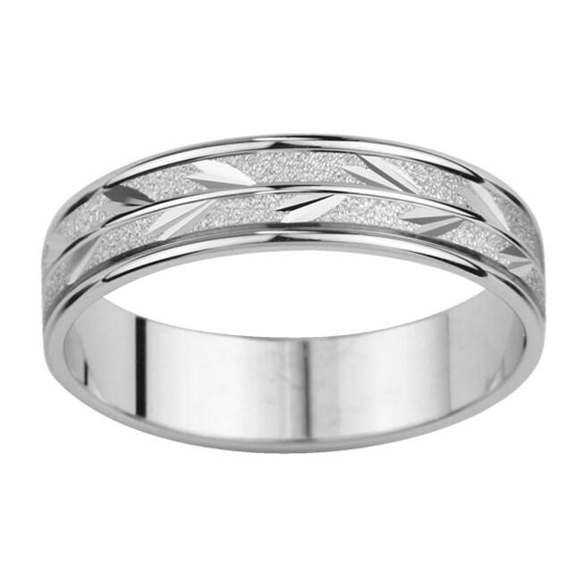 14k White Gold Men's Satin Finish Leaf Design Easy Fit Wedding Band