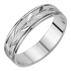 14k White Gold Men's Satin Finish Leaf Design Easy Fit Wedding Band