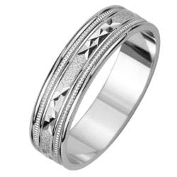 14k White Gold Men's Satin Triangle Groove Easy Fit Wedding Band