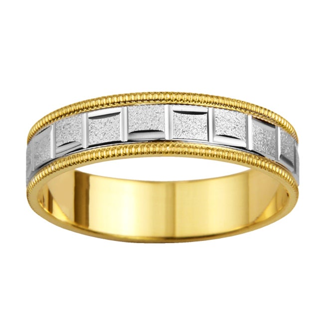 14k Two-tone Gold Men's Milligrain Roman Easy Fit Wedding Band