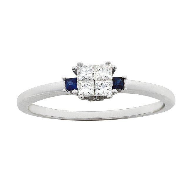 14k White Gold 1/4ct TDW Diamond and Sapphire Ring (G-H, I1-I2)