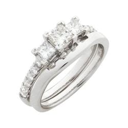 14k White Gold 1ct TDW Diamond Bridal Ring Set (G-H, SI1-SI2)