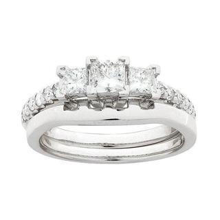Montebello 14k White Gold 1ct TDW Diamond Bridal Ring Set (G-H, SI1-SI2)