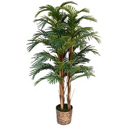 Laura Ashley 5-foot Realistic Silk Palm Tree with Wicker Basket Planter