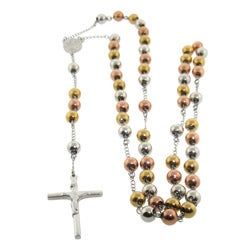 Eternally Haute Stainless Steel Tri-Color 34-inch Rosary Necklace
