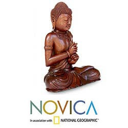 Handcrafted Suar Wood 'Balinese Buddha' Sculpture (Indonesia)