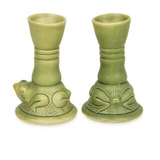 Set of 2 Handcrafted Ceramic 'Yoke Frog' Candleholders (Indonesia)