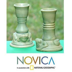 Set of 2 Handcrafted Ceramic 'Yoke Frog' Candleholders (Indonesia)