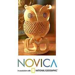 Kadam Wood 'Night Owl' Sculpture (India)