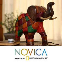 Ishpingo Wood 'Grand Elephant' Sculpture (Peru)