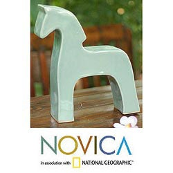 Ceramic Celadon 'Blue Thai Stallion' Sculpture (Thailand)