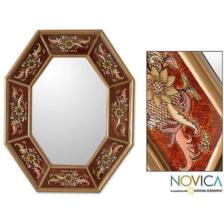 Handcrafted Reverse-painted Glass 'Russet Light' Wall Mirror (Peru)