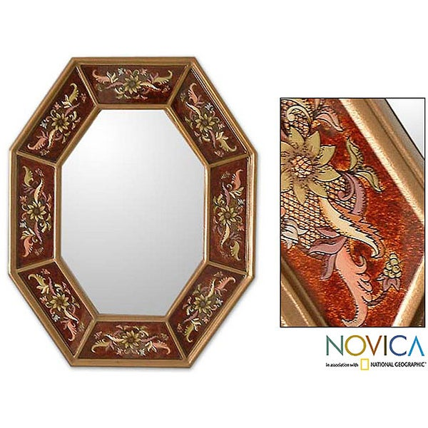 Handcrafted Reverse-painted Glass 'Russet Light' Wall Mirror (Peru)