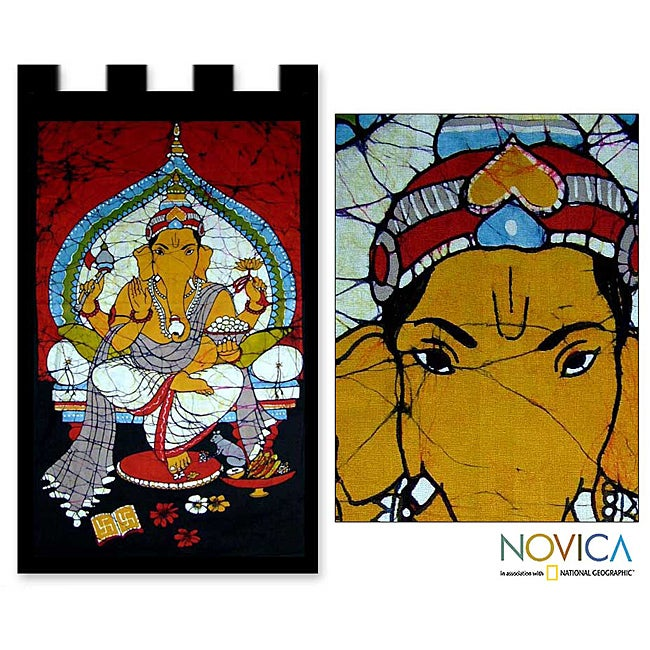 Handcrafted Cotton 'Benevolent Ganesha' Batik Wall Hanging , Handmade in India