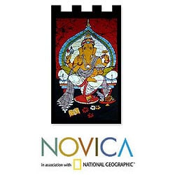 Handcrafted Cotton 'Benevolent Ganesha' Batik Wall Hanging (India)