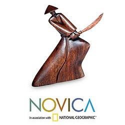 Handcrafted Suar Wood ', Handmade in , Handmade in Indonesian Samurai' Sculpture, Handmade in Indonesia