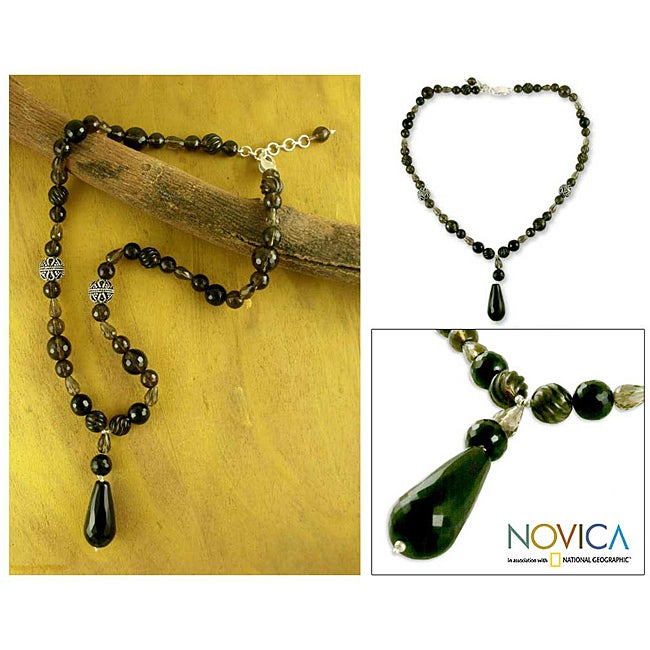 Sterling Silver 'Midnight Princess' Multi-gemstone Necklace (India)
